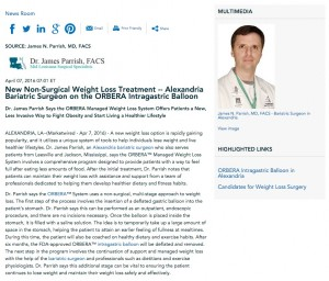 Weight Loss Surgeon in Alexandria Discusses ORBERA System
