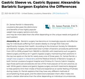 Dr. James Parrish, a weight loss surgeon in Alexandria, LA, explains the differences between gastric sleeve and gastric bypass surgery and why one option may be more ideal than the other for certain patients.